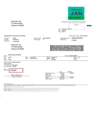 vehicle registration receipt sample iowa tax and tags
